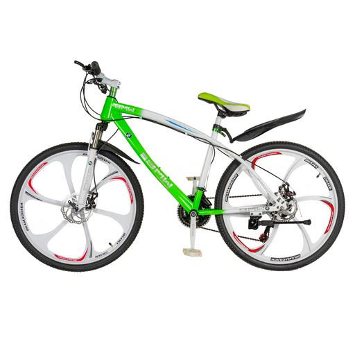 Велосипед на дисках 26 дюймов без амортизатора салатовый