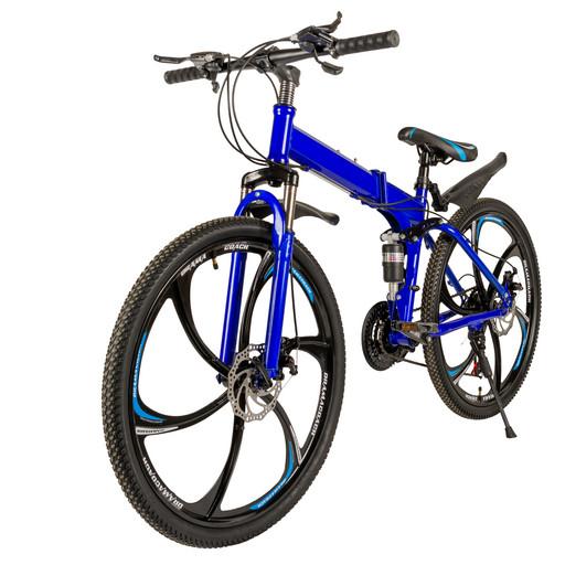 Велосипед на дисках 26 дюймов с амортизатором синий