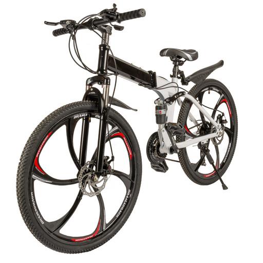 Велосипед на дисках 26 дюймов с амортизатором бело-черный