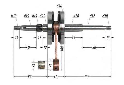 Вал коленчатый в сборе 2T AF20 (HF05) Lead 90 cc p22mm