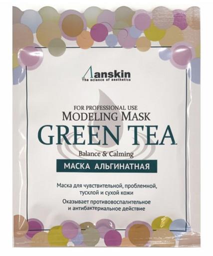 Альгинатная маска успокаивающая с экстрактом зеленого чая  Anskin Modeling Mask Green Tea For Balance & Calming