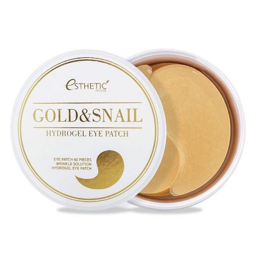 Гидрогелевые патчи с муцином улитки и золотом Esthetic House Gold & Snail Hydrogel Eye Patch