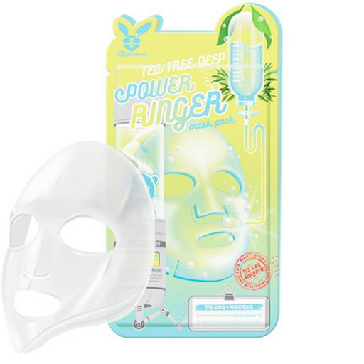 Успокаивающая тканевая маска с чайным деревом Elizavecca Tea Tree Deep Power Ringer Mask Pack