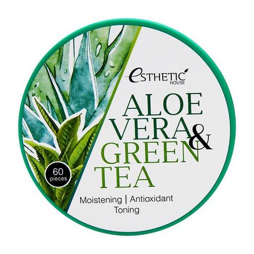 Увлажняющие гидрогелевые патчи с алое и зелёным чаем Esthetic House Aloe Vera & Green Tea Hydrogel Eye Patch