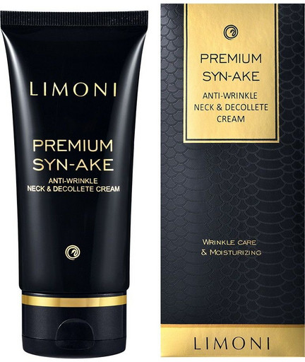 Антивозрастной крем для шеи и декольте со змеиным ядом Limoni Premium Syn-Ake Anti-Wrinkle Neck&Decollete Cream