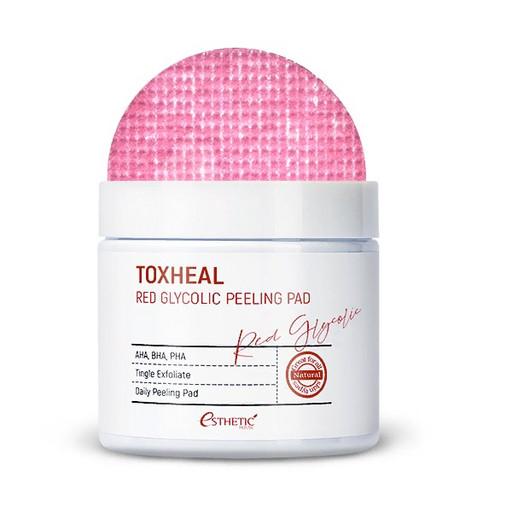 Пилинг-подушечки для мягкого очищения кожи лица и выравнивания ее текстуры Esthetic House Toxheal Red Glycolic Peeling Pad