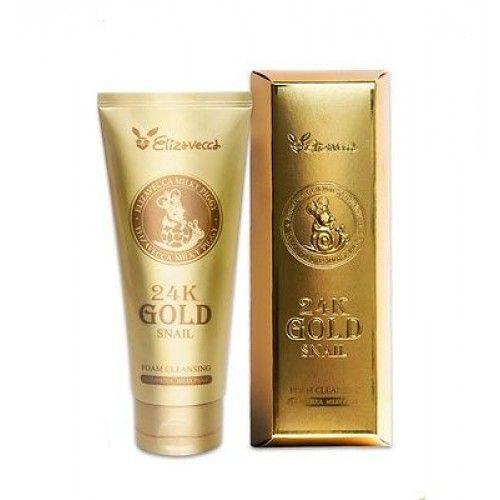 Пенка для умывания с золотом и муцином улитки Elizavecca 24K Gold Snail Cleansing Foam