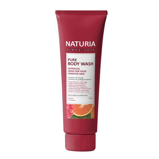 Увлажняющий гель для душа с фруктовым ароматом сладкого апельсина, клюквы и зеленого яблока Evas Naturia Pure Body Wash Cranberry & Orange