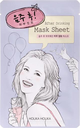 Увлажняющая освежающая тканевая детокс-маска Holika Holika After Drinking Mask Sheet