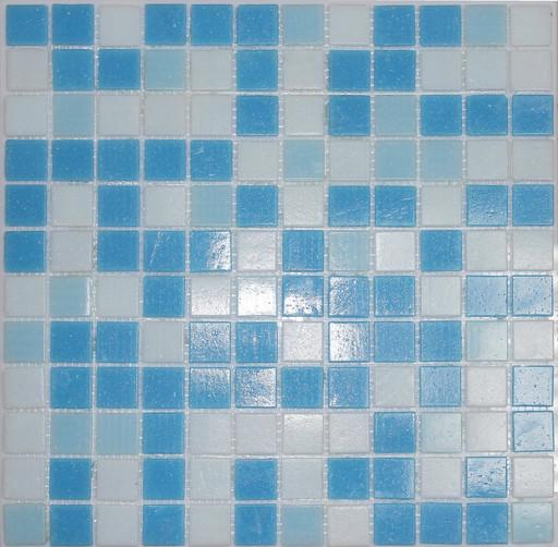 Мозаика Mix20  стекло бело-сине-голубой (сетка)