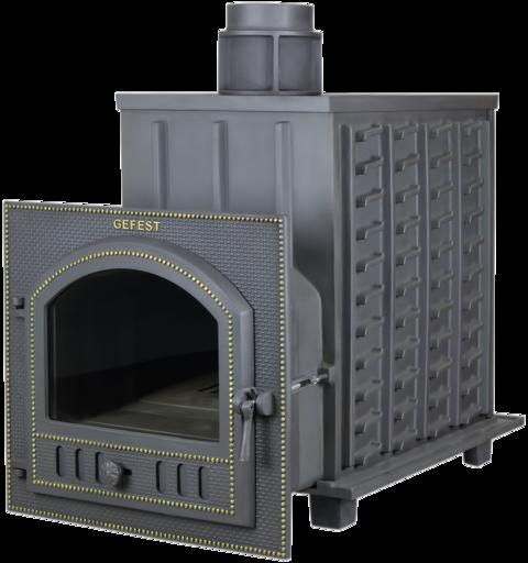 Чугунная банная печь ПБ-01М ЗК Гефест закрытая каменка до 50м3