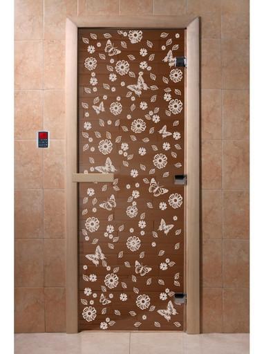 Дверь Цветы и бабочки