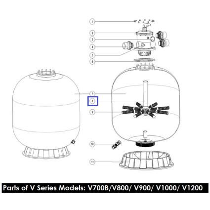 Дюзовая коробка Aquaviva 89010611 в комп-ке с трубой для V700B