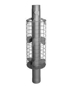 Дымоход стартовый конвектор с сеткой для камней и шибером L 1 м