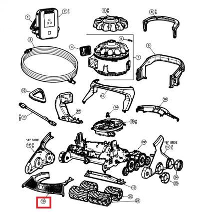 Передняя накладка корпуса для пылесоса Hayward AquaVac 600 и 650 (RCX361318236)