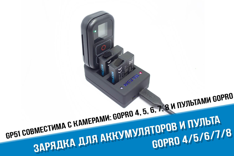 Зарядка для двух аккумуляторов и пульта для GoPro