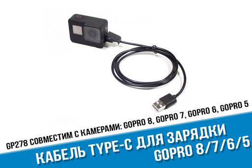 Кабель USB Type-C для GoPro Hero 8/7/6/5 и GoPro 5 Session