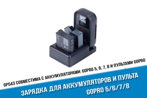 Зарядка для двух аккумуляторов GoPro HERO8, HERO7, HERO6, HERO5 и Wi-Fi пульта