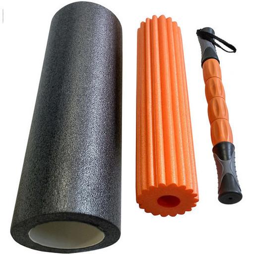 B31264 Ролик для йоги 3в1 (черно/оранжевый) 46x15см ЭВА/АБС/PVC