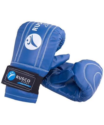 Перчатки снарядные, кожзам, синий
