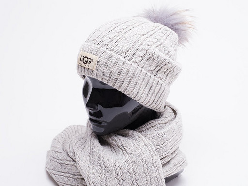 Комплект UGG (шапка, перчатки, шарф) (17200)