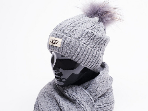 Комплект UGG (шапка, перчатки, шарф) (17202)