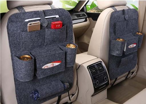 Органайзер накидка с карманами на заднее сиденье (цвет серый)