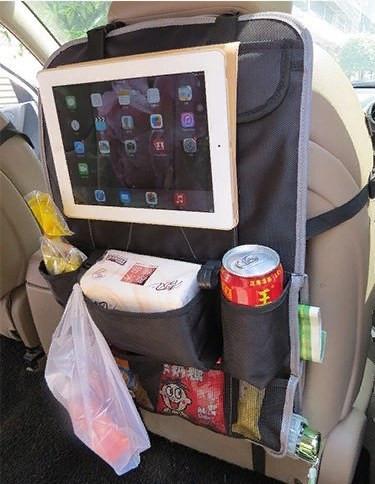 Органайзер на спинку сиденья автомобиля с карманами (цвет серый)