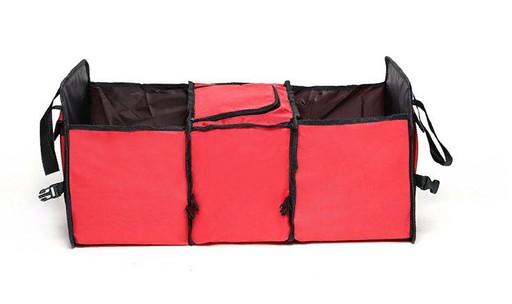 Складной органайзер в багажник с термоотсеком красный