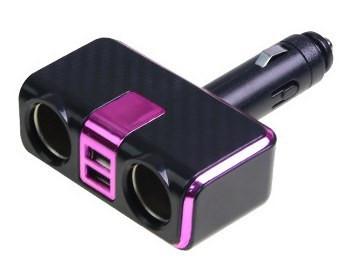 Разветвитель прикуривателя+USB розовый