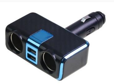 Разветвитель прикуривателя+USB синий