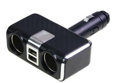 Разветвитель прикуривателя+USB серебряный