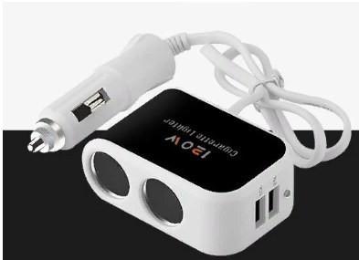 Разветвитель прикуривателя 2 входа + 2 USB 3.1 черный