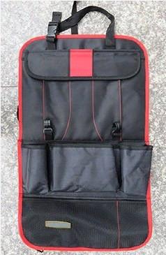 Органайзер на спинку сиденья автомобиля с карманами (цвет красный)