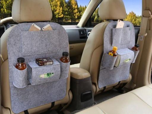 Органайзер накидка с карманами на заднее сиденье (цвет серебреный)