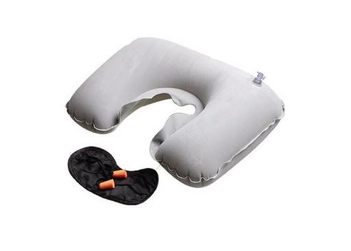 Надувная подушка с берушами и светозащитной маской 3 в 1(цвет серый)