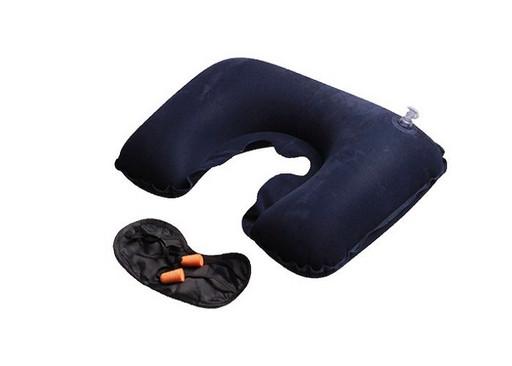 Надувная подушка с берушами и светозащитной маской 3 в 1(цвет индиго)