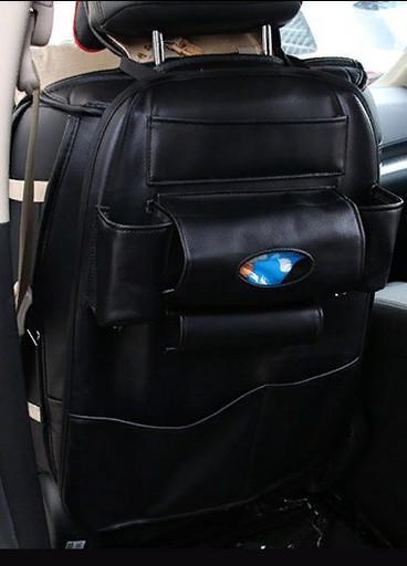 Органайзер из кожи на спинку сиденья (цвет черный)