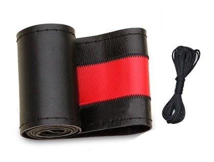 Кожанная оплетка на руль черная с красной вставкой (черная окантовка)