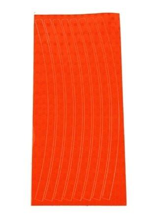Оранжевая светоотражающая наклейка на диск колеса (16 полосок)