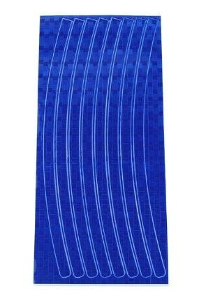 Синяя светоотражающая наклейка на диск колеса (16 полосок)