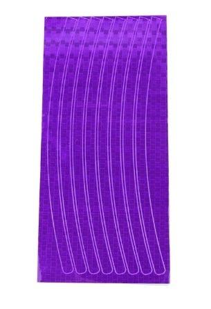 Фиолетовая светоотражающая наклейка на диск колеса (16 полосок)