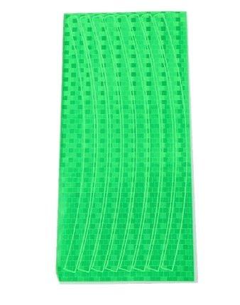 Зеленая светоотражающая наклейка на диск колеса (16 полосок)