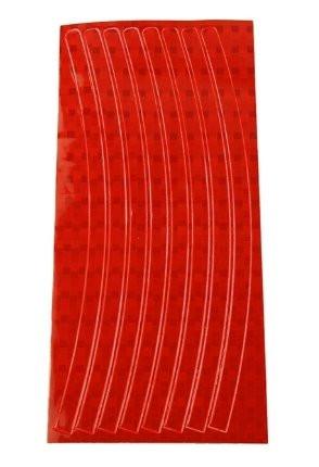 Красная светоотражающая наклейка на диск колеса (16 полосок)