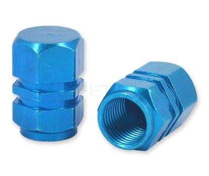 Колпачек вентиля колеса синий, металлический