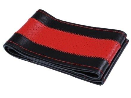 Перфарированная черная кожанная оплетка руля с красной полосой (красная окантовка)