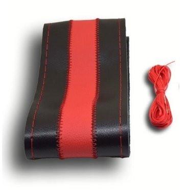 Кожанная оплетка на руль черная с красной вставкой (красная окантовка)