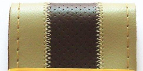 Перфарированная бежевая кожанная оплетка руля с черной полосой (бежевая окантовка)
