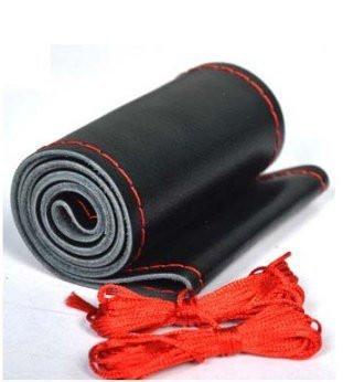 Кожаный чехол на руль черный (красная окантовка)