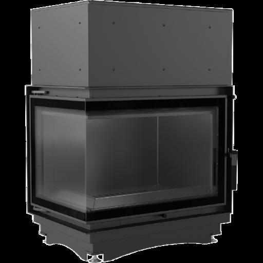 Топка с водяным контуром ZUZIA/PW/BL/19/BS/W/DECO, Г-образное стекло слева, змеевик